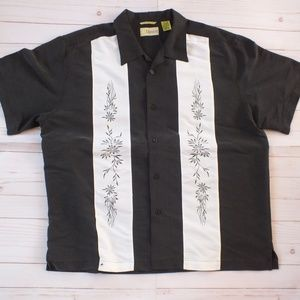 Cubavera Panel Embroidery Shirt Size XL Black Whit